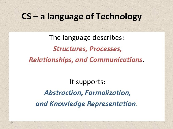 CS – a language of Technology The language describes: Structures, Processes, Relationships, and Communications.