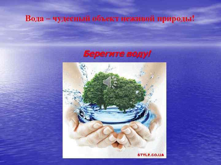 Вода – чудесный объект неживой природы! Берегите воду!