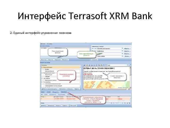 Интерфейс Terrasoft XRM Bank 2. Единый интерфейс управления звонком
