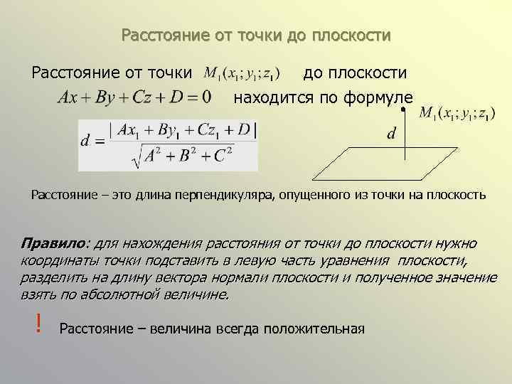 Расстояние от точки до плоскости находится по формуле Расстояние – это длина перпендикуляра, опущенного