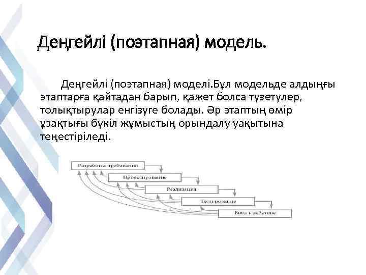 Деңгейлі (поэтапная) модель. Деңгейлі (поэтапная) моделі. Бұл модельде алдыңғы этаптарға қайтадан барып, қажет болса