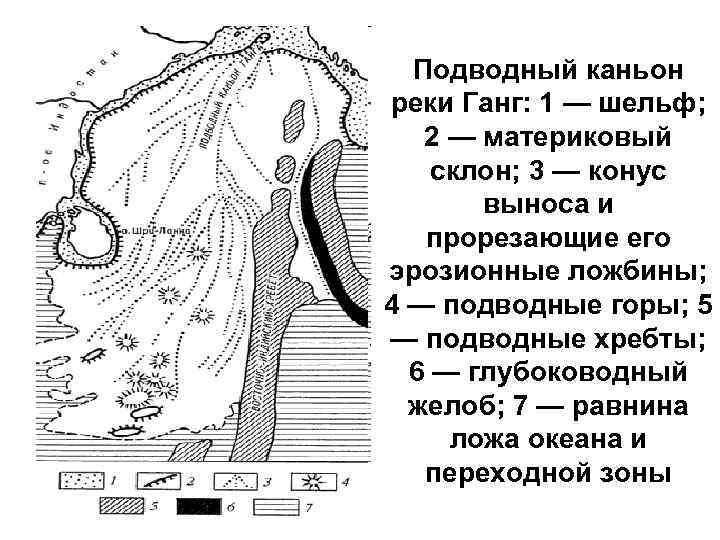 Подводный каньон реки Ганг: 1 — шельф; 2 — материковый склон; 3 — конус