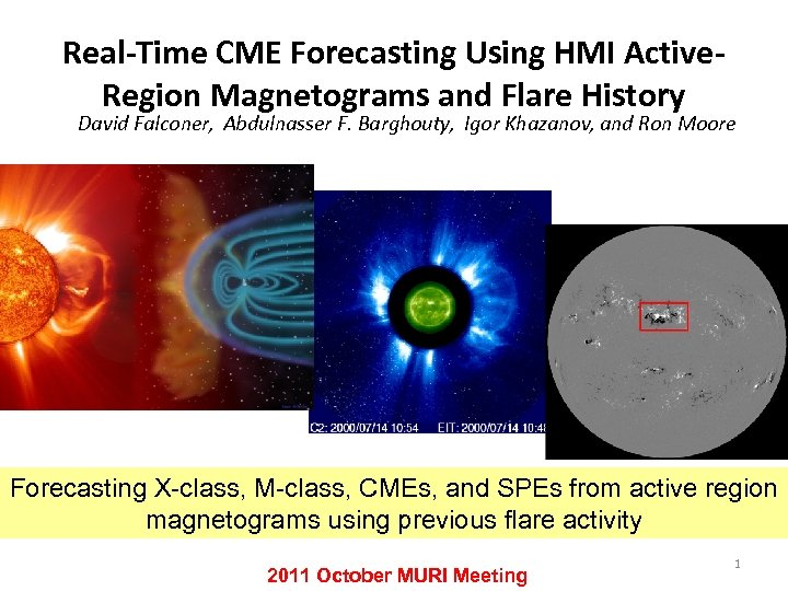 Real-Time CME Forecasting Using HMI Active. Region Magnetograms and Flare History David Falconer, Abdulnasser