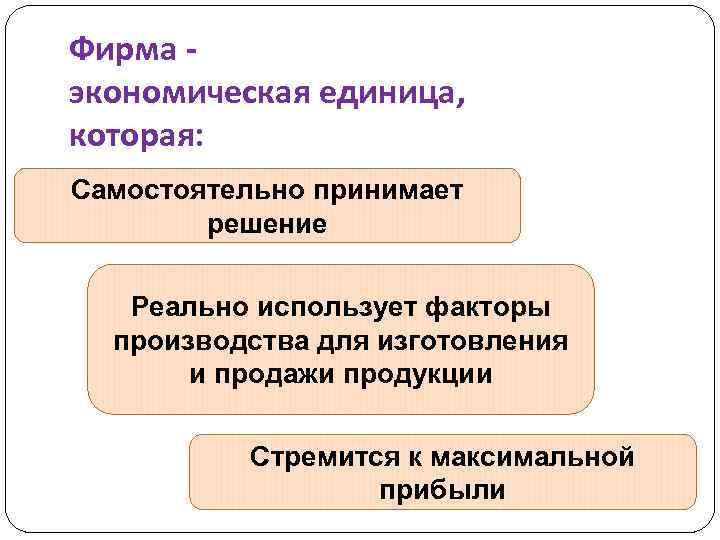 Фирма экономическая единица, которая: Самостоятельно принимает решение Реально использует факторы производства для изготовления и