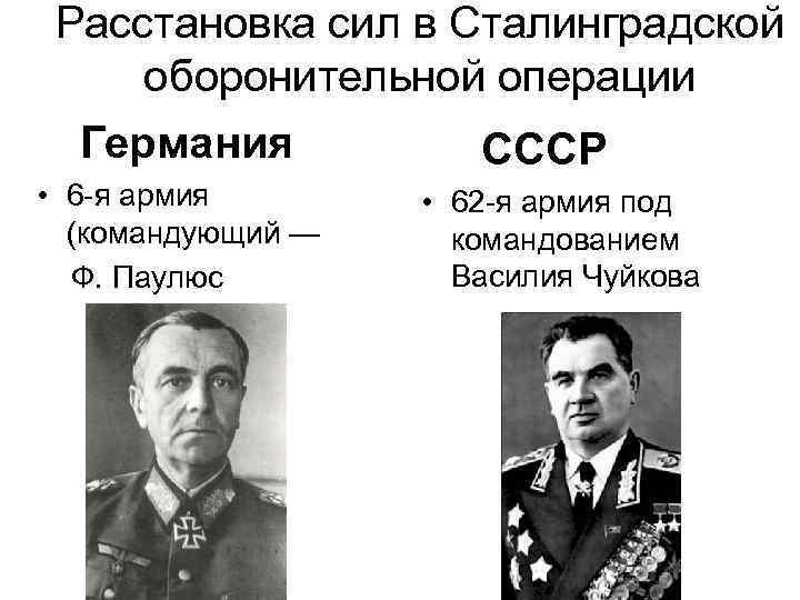 Расстановка сил в Сталинградской оборонительной операции Германия • 6 -я армия (командующий — Ф.