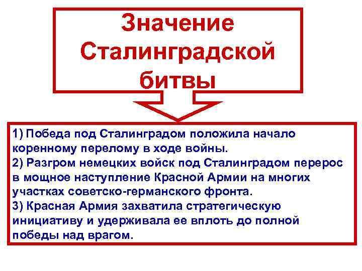 Значение Сталинградской битвы 1) Победа под Сталинградом положила начало коренному перелому в ходе войны.