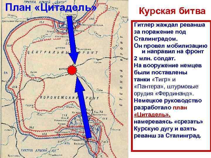 План «Цитадель» Курская битва Гитлер жаждал реванша за поражение под Сталинградом. Он провел мобилизацию