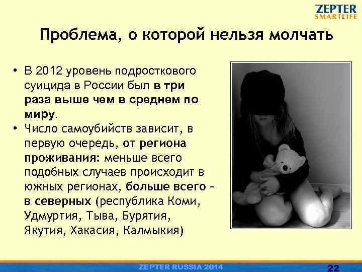 Проблема, о которой нельзя молчать • В 2012 уровень подросткового суицида в России был