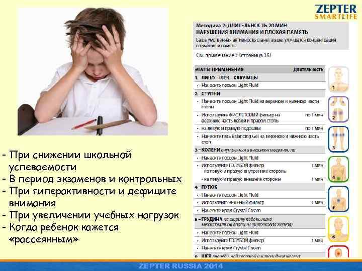 - При снижении школьной успеваемости - В период экзаменов и контрольных - При гиперактивности