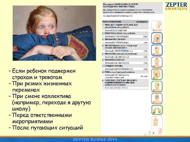 - Если ребенок подвержен страхам и тревогам - При резких жизненных переменах - При