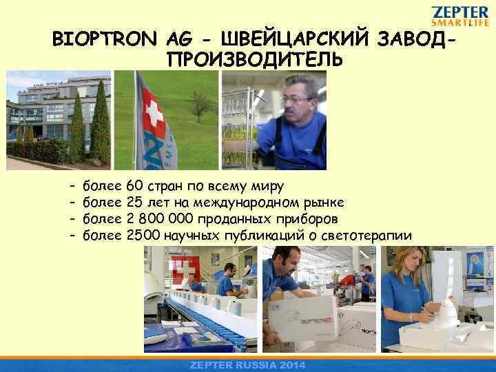 BIOPTRON AG - ШВЕЙЦАРСКИЙ ЗАВОДПРОИЗВОДИТЕЛЬ - более 60 стран по всему миру более 25