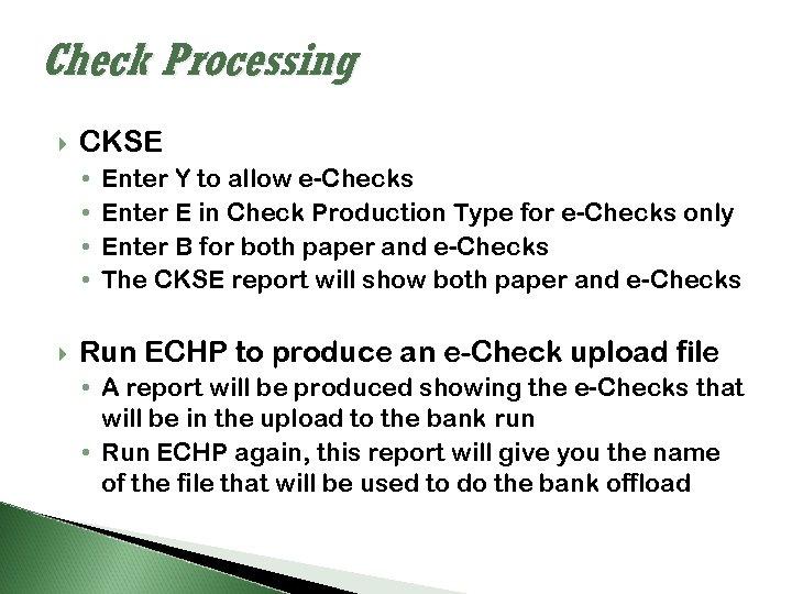 Check Processing CKSE • • Enter Y to allow e-Checks Enter E in Check