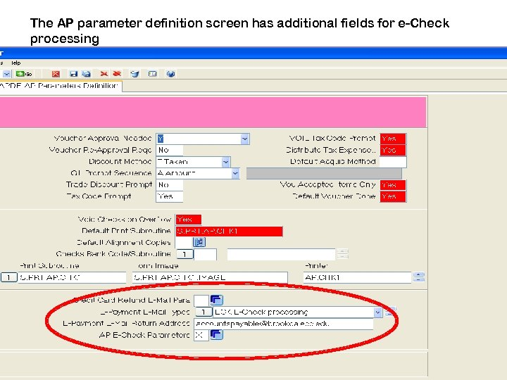 The AP parameter definition screen has additional fields for e-Check processing