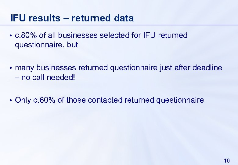 IFU results – returned data • c. 80% of all businesses selected for IFU