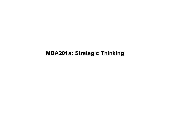 MBA 201 a: Strategic Thinking