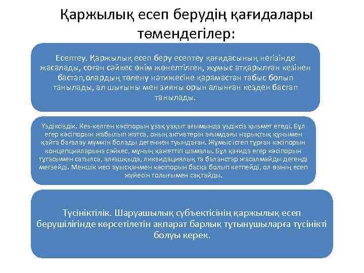 Қаржылық есеп берудің қағидалары төмендегілер: Есептеу. Қаржылық есеп беру есептеу қағидасының негізінде жасалады, соған