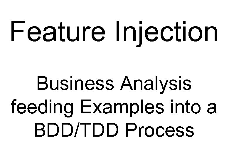 Feature Injection Business Analysis feeding Examples into a BDD/TDD Process