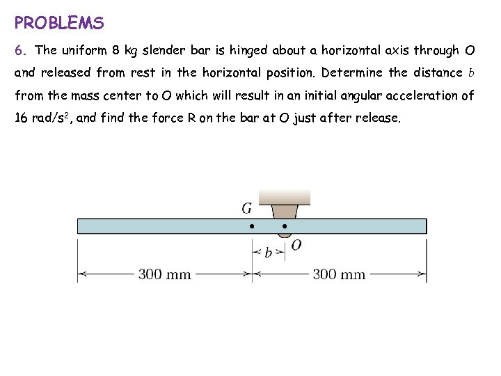 PROBLEMS 6. The uniform 8 kg slender bar is hinged about a horizontal axis