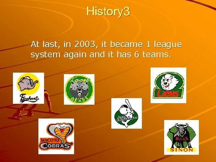 History 3 At last, in 2003, it became 1 league system again and it