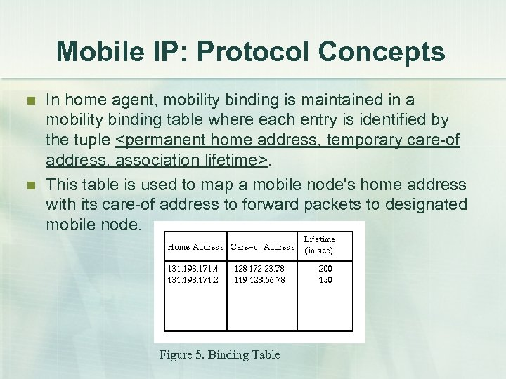 Mobile IP: Protocol Concepts n n In home agent, mobility binding is maintained in