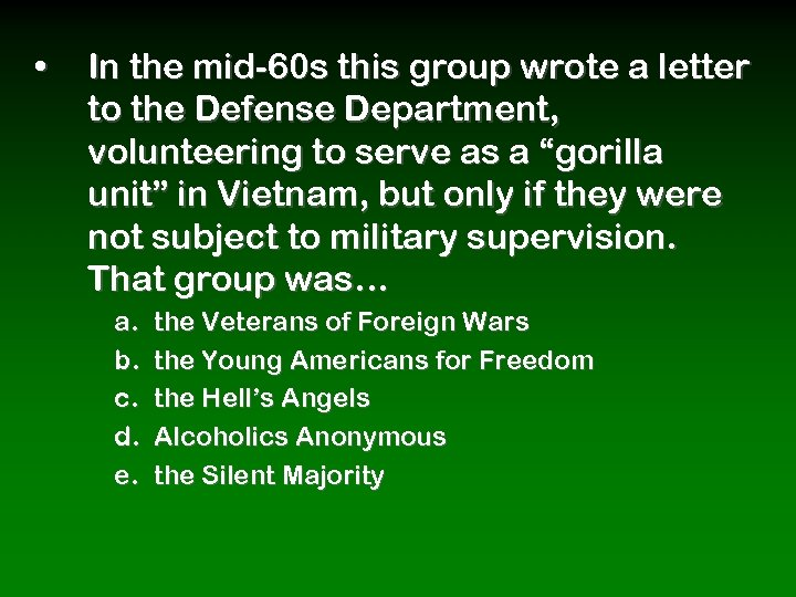 • In the mid-60 s this group wrote a letter to the Defense
