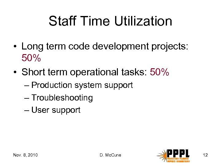 Staff Time Utilization • Long term code development projects: 50% • Short term operational