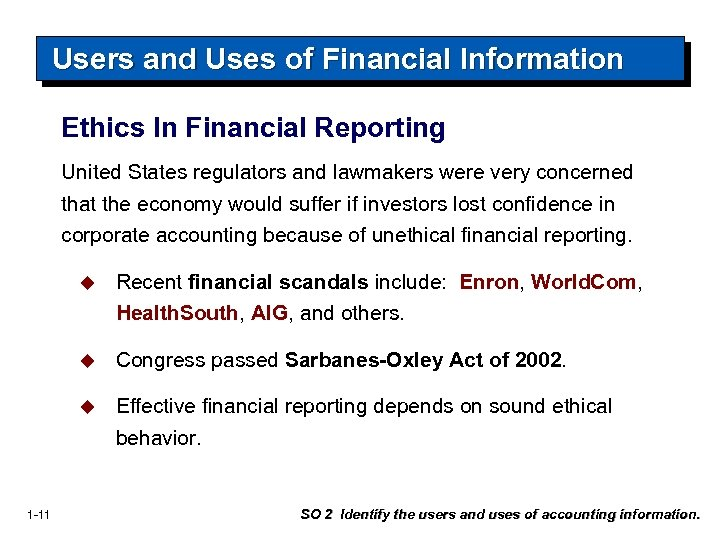 Users and Uses of Financial Information Ethics In Financial Reporting United States regulators and