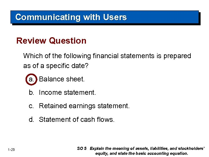 Communicating with Users Review Question Which of the following financial statements is prepared as