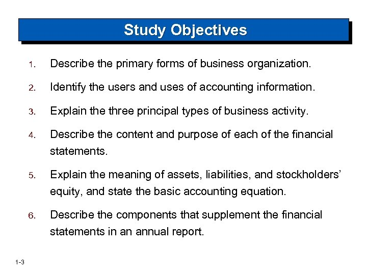 Study Objectives 1. 2. Identify the users and uses of accounting information. 3. Explain