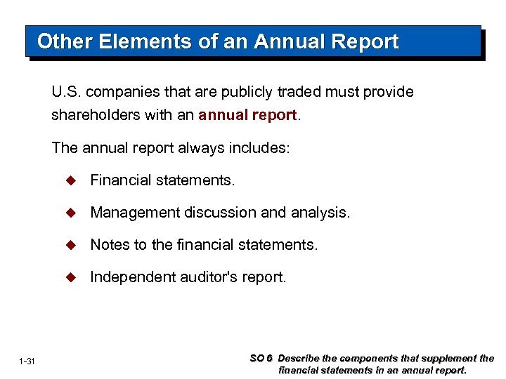 Other Elements of an Annual Report U. S. companies that are publicly traded must