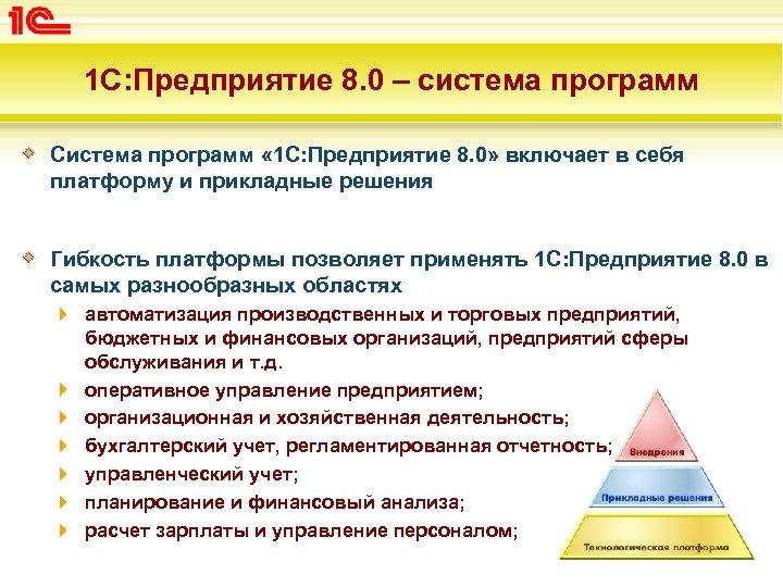 1 С: Предприятие 8. 0 – система программ Система программ « 1 С: Предприятие