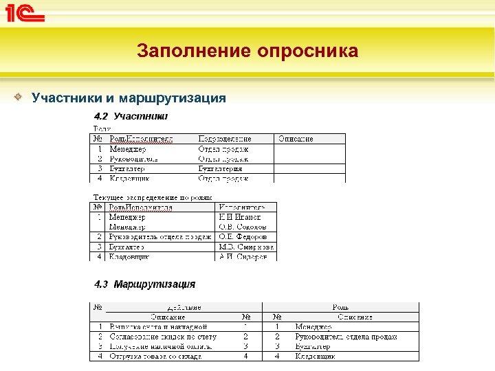 Заполнение опросника Участники и маршрутизация