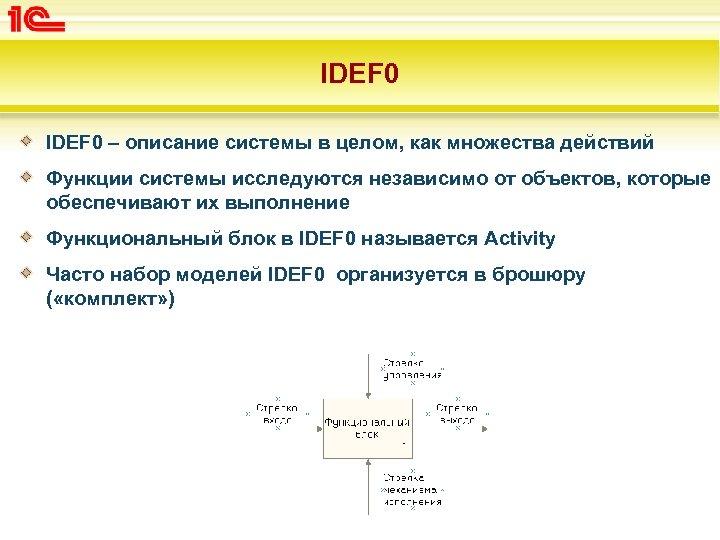IDEF 0 – описание системы в целом, как множества действий Функции системы исследуются независимо
