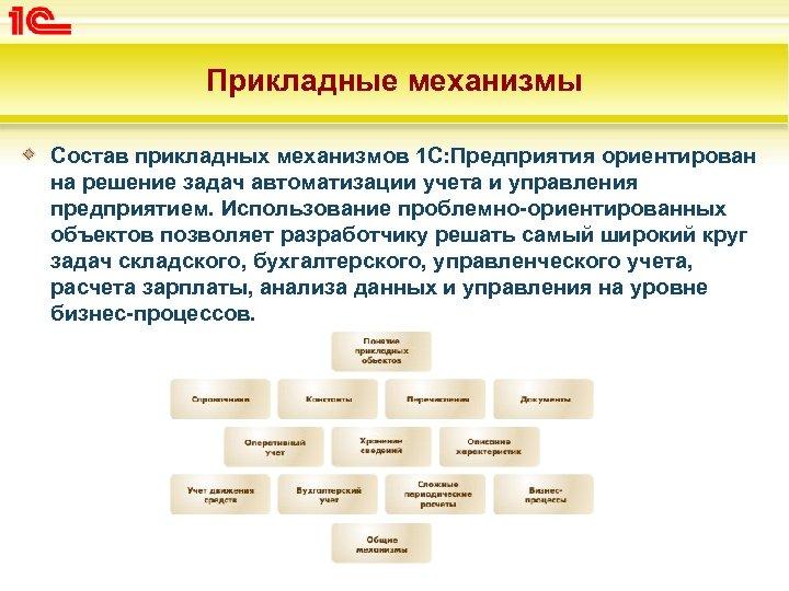 Прикладные механизмы Состав прикладных механизмов 1 С: Предприятия ориентирован на решение задач автоматизации учета