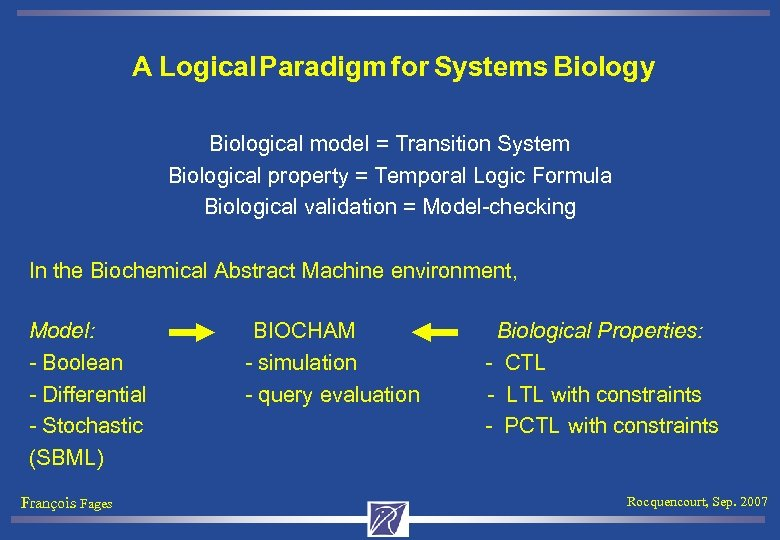 A Logical Paradigm for Systems Biology Biological model = Transition System Biological property =