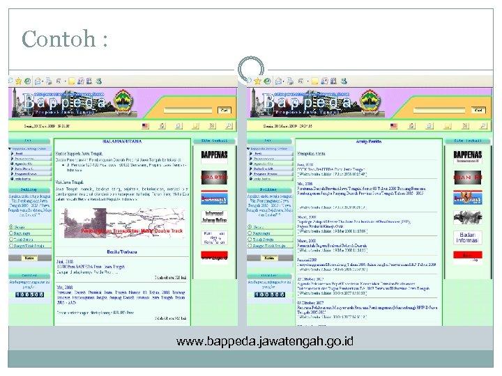 Contoh : www. bappeda. jawatengah. go. id