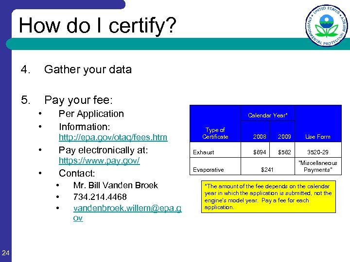 How do I certify? 4. Gather your data 5. Pay your fee: • •