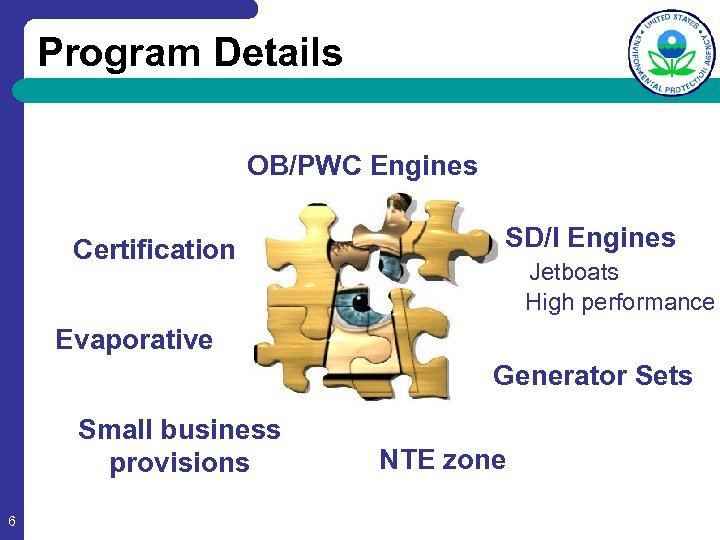 Program Details OB/PWC Engines Certification SD/I Engines Jetboats High performance Evaporative Generator Sets Small