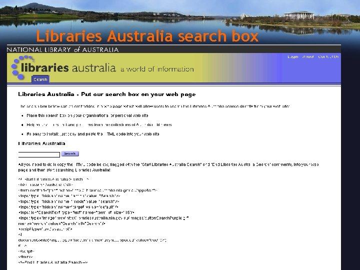 Libraries Australia search box