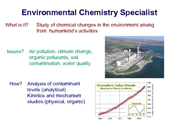 Environmental Chemistry Specialist What is it? Issues? How? Study of chemical changes in the
