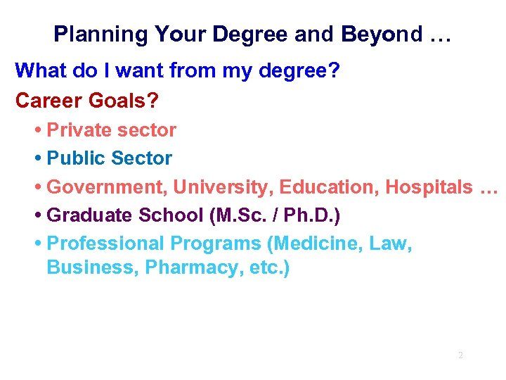 Planning Your Degree and Beyond … What do I want from my degree? Career