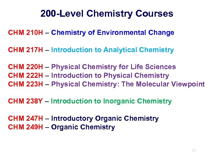 200 -Level Chemistry Courses CHM 210 H – Chemistry of Environmental Change CHM 217