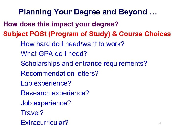Planning Your Degree and Beyond … How does this impact your degree? Subject POSt