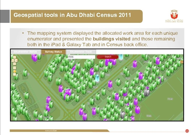 Geospatial tools in Abu Dhabi Census 2011 • The mapping system displayed the allocated