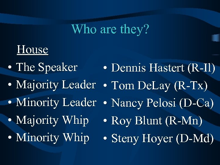 Who are they? House • The Speaker • Majority Leader • Minority Leader •