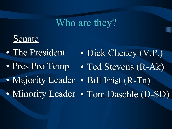 Who are they? Senate • The President • Pres Pro Temp • Majority Leader