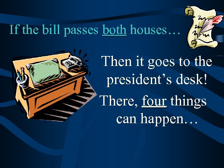 If the bill passes both houses… Then it goes to the president's desk! There,