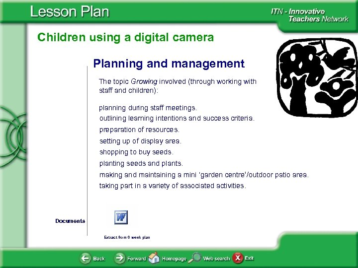 Children using a digital camera Planning and management The topic Growing involved (through working