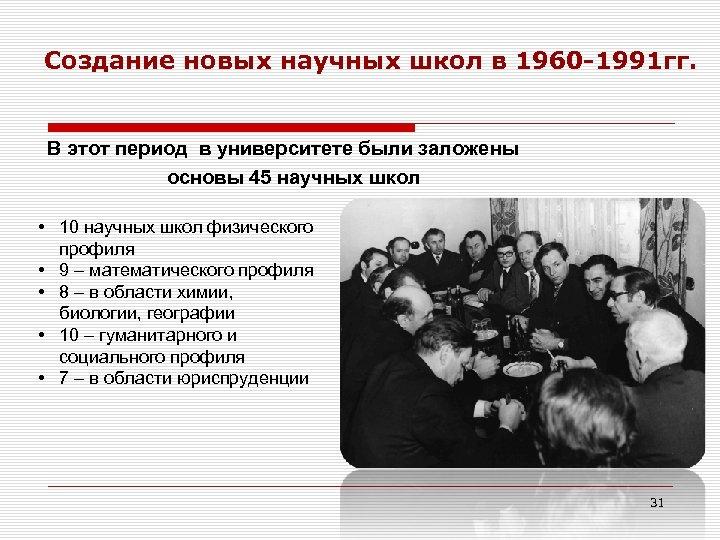 Создание новых научных школ в 1960 -1991 гг. В этот период в университете были