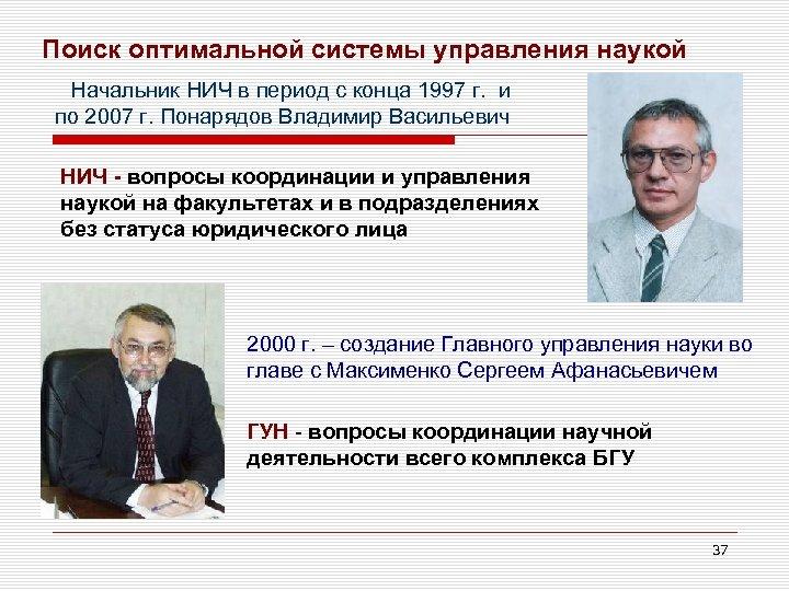 Поиск оптимальной системы управления наукой Начальник НИЧ в период с конца 1997 г. и